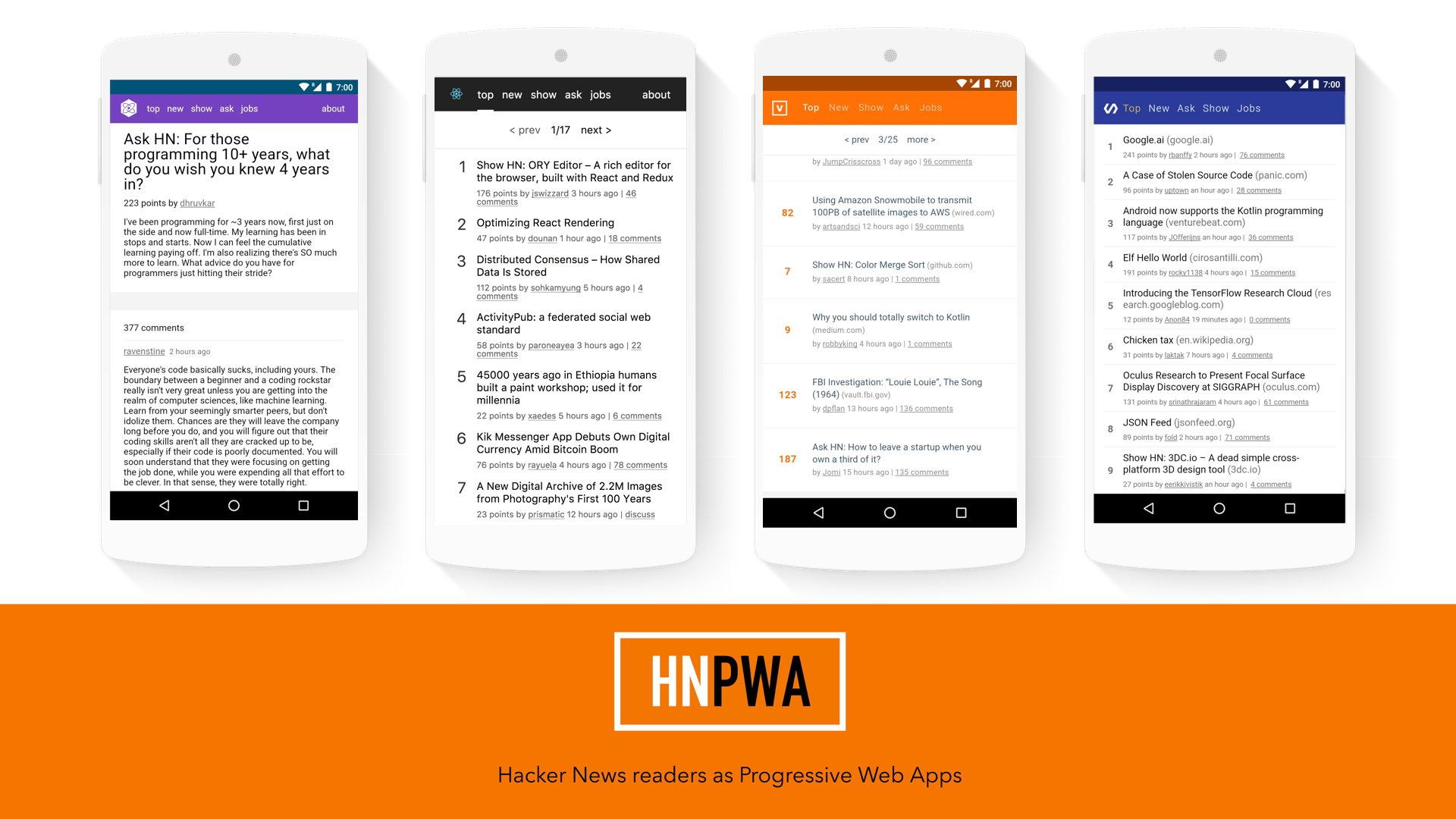 HN PWA - Hacker News readers as Progressive Web Apps