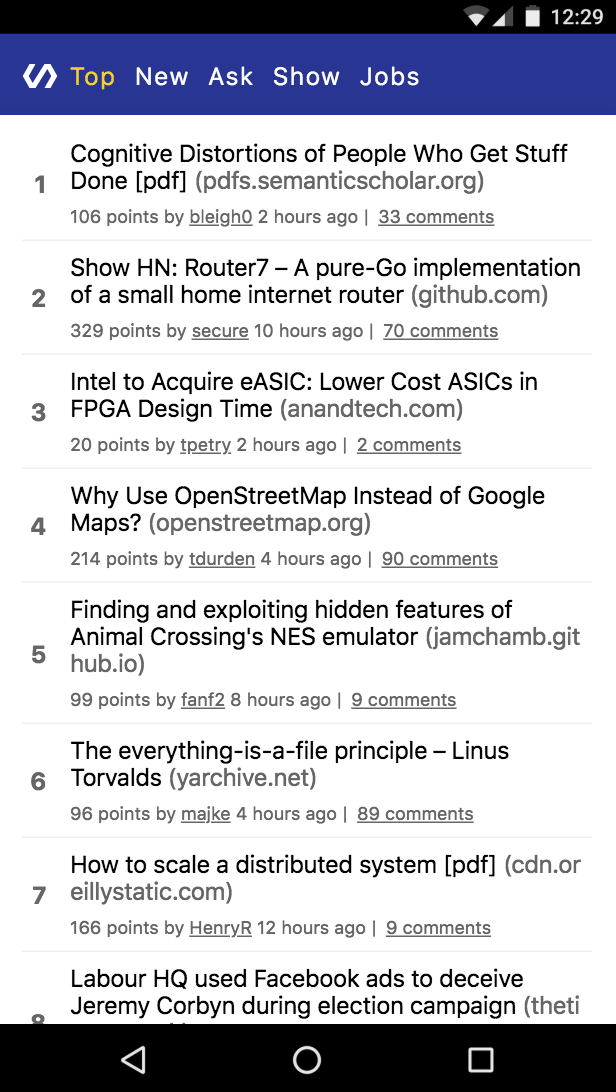 Polymer HN HN PWA running on a mobile phone
